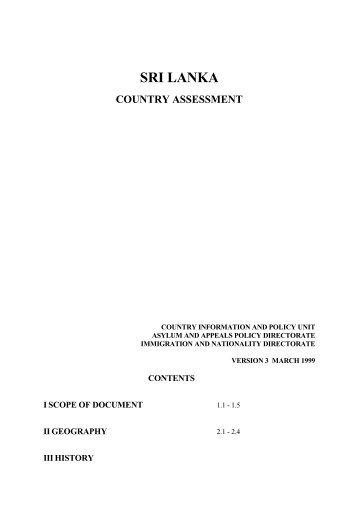 Sri Lanka Country Assessment by UK, 1999 - Tamil Nation & Beyond