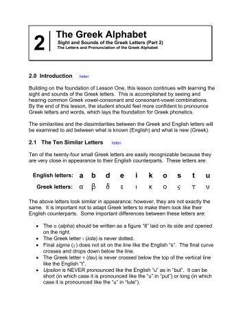 Lesson 2: The Greek Alphabet (Part 2) - Kultura Antyczna