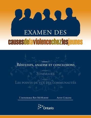 Examen des causes de la violence chez les jeunes - Ministry of ...