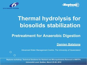 Thermal hydrolysis for biosolids stabilization - EU Project Neptune