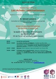 Les Achats Internationaux INVITATION - (CCI) de l'Yonne