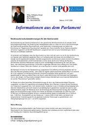 Informationen aus dem Parlament