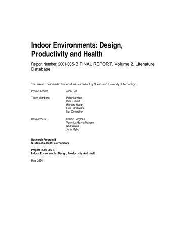 Indoor Environments: Design, Productivity and Health - QUT ePrints