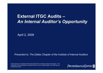 External ITGC Audits – An Internal Auditor's ... - IIA Dallas Chapter