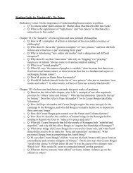 Reading Guide for Machiavelli's The Prince - Ashland University