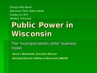 Dave Benforado - Wisconsin Public Utility Institute