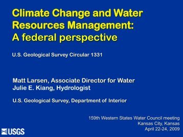 Climate Change and Water Resources Management: A ... - the USGS