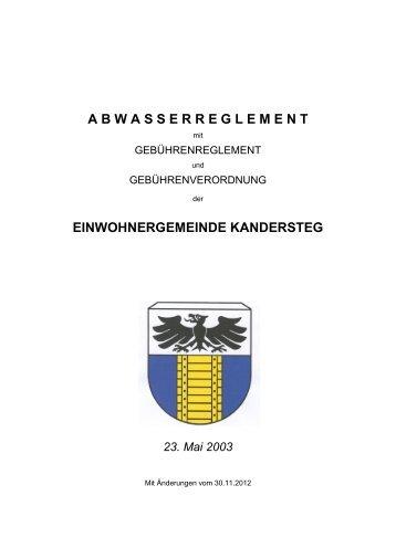 A B W A S S E R R E G L E M E N T - Einwohnergemeinde Kandersteg