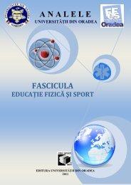Analele Universităţii din Oradea - Fascicula Educaţie Fizică şi Sport