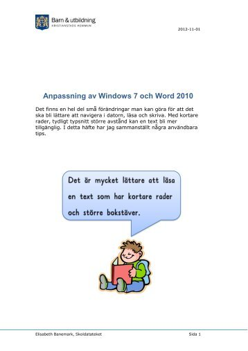 Anpassning av Windows 7 och Word 2010 - Kristianstad