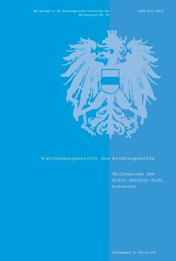 W ahrnehmungsbericht des Rechnungshofes Teilbereiche des Steyr ...