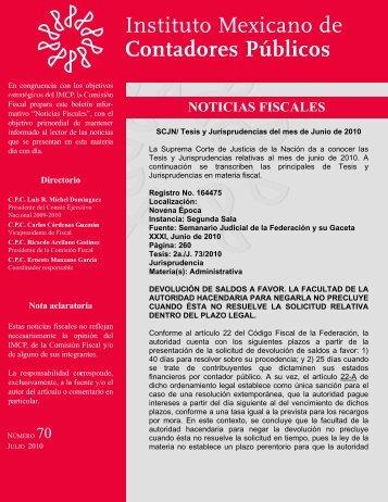Noticias Fiscales 70 - Instituto Mexicano de Contadores Públicos