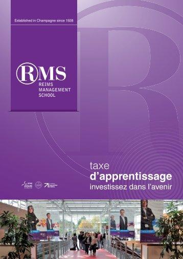 """Plaquette """"Taxe d'apprentissage"""" RMS - Reims Management School"""