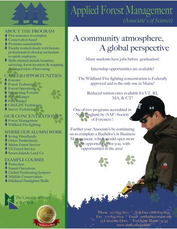 Applied Forest Management - the University of Maine at Fort Kent