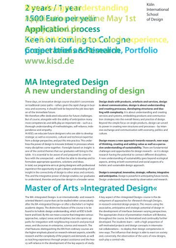 A new understanding of design Master of Arts »Integrated Design« 2 ...