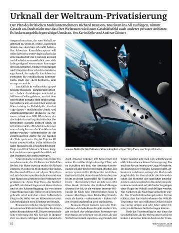 """""""Urknall der Weltraumprivatisierung"""", erschienen in ... - schriftzug"""