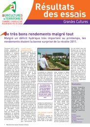 Résultats des ess is - Chambre d'agriculture du Nord-Pas-de-Calais