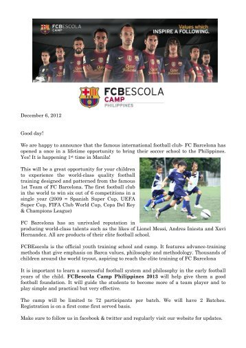 Page 1 December 6, 2012 Good day! We are happy to announce ...
