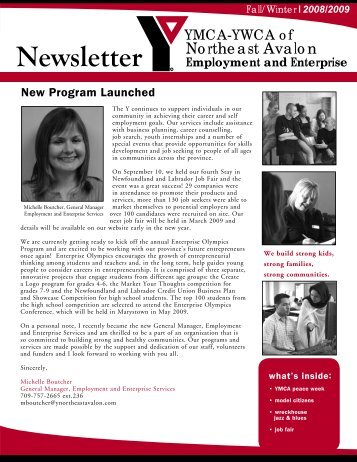 Employment and Enterprise Newsletter Fall Winter 2008/2009