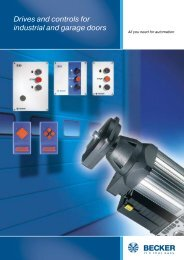 Drives and controls for industrial and garage doors - Becker-Antriebe