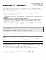 Application for Employment - Ecumenical Ministries of Oregon