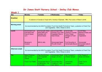 Sir James Knott Nursery School – Smiley Club Menus Week 1