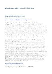 Monitoring médií 10. – 16. 8. 2013 - Vysoká škola výtvarných umení