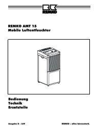 REMKO AMT 15 Mobile Luftentfeuchter Bedienung Technik Ersatzteile
