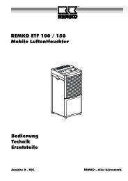 REMKO ETF 100 / 150 Mobile Luftentfeuchter Bedienung Technik ...