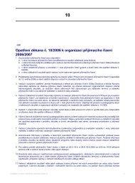Opatření děkana č. 10/2006 k organizaci přijímacího řízení 2006/2007