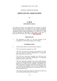 Draft Articles of Association incorporating proposed ... - CRH