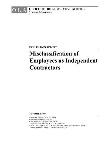 Misclassification of Employees as Independent Contractors