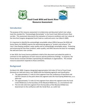 Fossil Creek Wild and Scenic River Resource ... - Red Rock Country