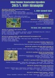 2013 BFTE túranaptár - Bükki Fiatalok Természetjáró Egyesülete