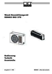 Wand-Raumklimagerät REMKO RKS 370 Bedienung Technik ...