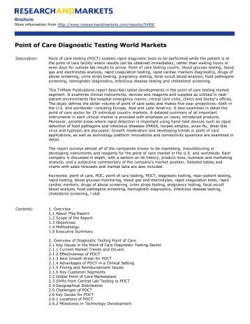 Point of Care Diagnostic Testing World Markets - Research and ...