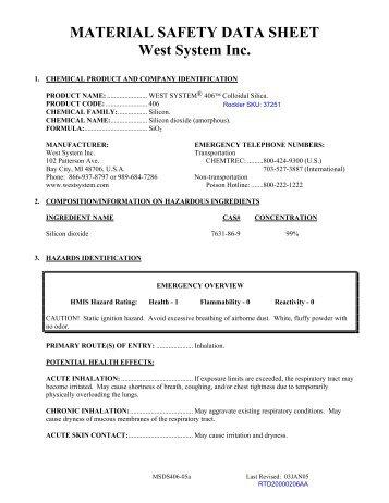 Material Savety Datasheet Silica Siltemp Ch Msds