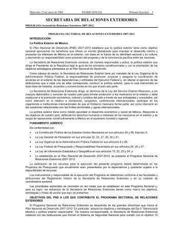 Programa Sectorial de Relaciones Exteriores 2007-2012.