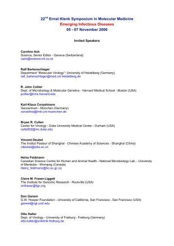22 Ernst Klenk Symposium in Molecular Medicine Emerging ...