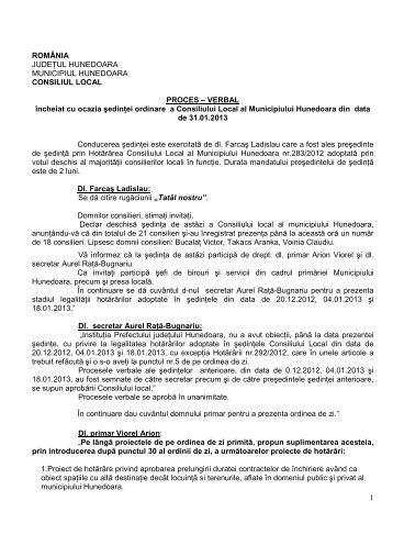 PROCES VERBAL 31.01.2013.pdf - Primaria Municipiului Hunedoara