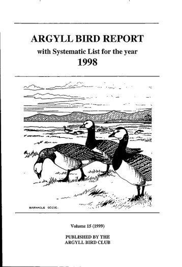 Argyll Bird Report 15 1998 - Argyll Bird Club