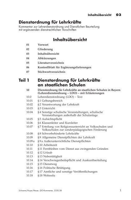 Dienstordnung für Lehrkräfte Inhaltsübersicht Teil 1 Dienstordnung ...