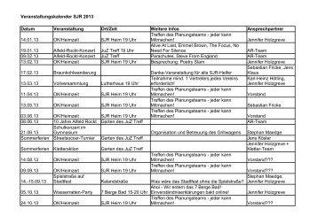 Veranstaltungskalender SJR 2013 als pdf-Datei