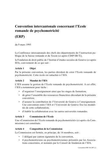 Convention intercantonale concernant l'Ecole romande de ...