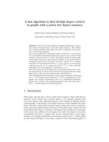A fast algorithm to find all high degree vertices in graphs with a ...