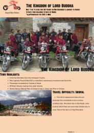 A life time Motorbike ride in the Himalayan Country ... - royalbikeriders