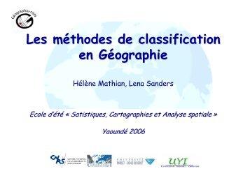 Les méthodes de classification en Géographie - UMS-RIATE