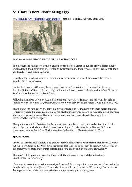 Poor Clares Prayer Request