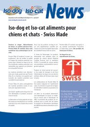 Iso-dog et Iso-cat aliments pour chiens et chats - Swiss Made