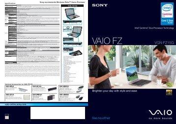 VGN-FZ15G - Sony Style
